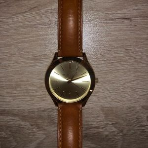 MICHAEL KORS Leather Banded Gold Watch